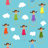 Seamless jumping girls. Seamless background with girls and jumping ropes Royalty Free Stock Photo