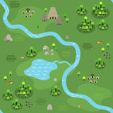Seamless jungle map in flat style Royalty Free Stock Image