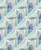 Seamless jungle pattern with banana leaves and pink tropical flowers in three green tones stock illustration