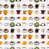 Seamless kaffe mönstrar Royaltyfria Foton