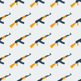Seamless Kalashnikov ak47 pattern flat Royalty Free Stock Photography