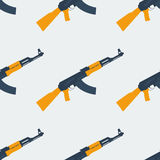 Seamless Kalashnikov ak47 pattern flat. Seamless Kalashnikov ak47 pattern texture Stock Photo
