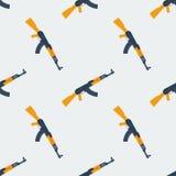 Seamless Kalashnikov ak47 pattern flat Royalty Free Stock Image