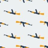 Seamless Kalashnikov ak47 pattern flat Stock Image