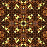 Seamless kaleidoscopic mosaic yellow-brown tile pattern Stock Photo
