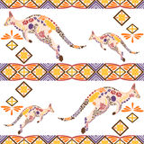 Seamless kangaroo pattern made from flowers, leaves Royalty Free Stock Photo
