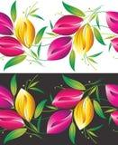 Seamless kant av tulpanblommor stock illustrationer
