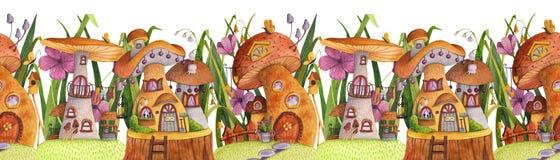 seamless kant Gata av champinjonhus med gr?s, blommor, fj?rilen, den bygga bo asken, staketet, banret och brunnen stock illustrationer