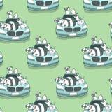 Seamless kawaii animals and blue auto car pattern stock illustration