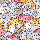 Seamless kawaii cartoon pattern with cute bats Royalty Free Stock Image