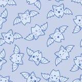 Seamless kawaii cartoon pattern with cute bats Stock Photo