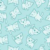 Seamless kawaii cartoon pattern with cute cats.  Stock Images
