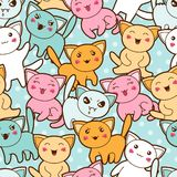 Seamless kawaii cartoon pattern with cute cats Royalty Free Stock Photo