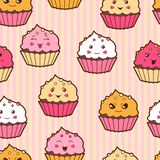 Seamless kawaii cartoon pattern with cute cupcakes Royalty Free Stock Images