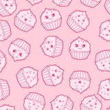 Seamless kawaii cartoon pattern with cute cupcakes Royalty Free Stock Photography