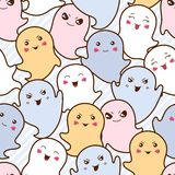 Seamless kawaii cartoon pattern with cute ghosts Royalty Free Stock Image