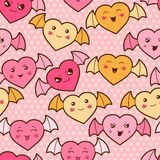 Seamless kawaii cartoon pattern with cute hearts Royalty Free Stock Photos