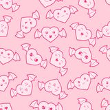 Seamless kawaii cartoon pattern with cute hearts Royalty Free Stock Images