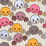 Seamless kawaii cartoon pattern with cute spiders Royalty Free Stock Photography