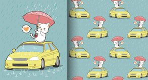 Seamless kawaii cat is protecting the car pattern vector illustration