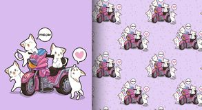 Seamless kawaii cats and motor tricycle pattern royalty free illustration