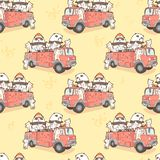 Seamless kawaii cats and panda fire fighter on fire truck pattern stock illustration