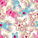 Seamless kawaii child pattern with cute doodles.  Vector Illustration