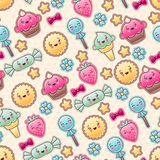 Seamless kawaii child pattern with cute doodles Royalty Free Stock Photography