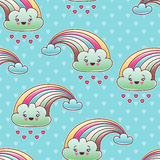 Seamless kawaii child pattern with cute doodles Royalty Free Stock Image