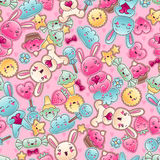 Seamless kawaii child pattern with cute doodles.  Royalty Free Illustration