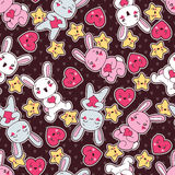 Seamless kawaii child pattern with cute doodles Stock Image