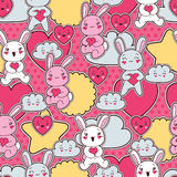 Seamless kawaii child pattern with cute doodles Royalty Free Stock Photos