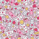 Seamless kawaii child pattern with cute doodles.  Stock Illustration