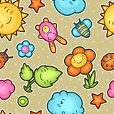 Seamless kawaii child pattern with cute doodles. Spring collection of cheerful cartoon characters sun, cloud, flower Royalty Free Stock Photo