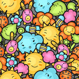 Seamless kawaii child pattern with cute doodles. Spring collection of cheerful cartoon characters sun, cloud, flower Stock Photos