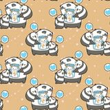 Seamless kawaii pandas and cat in the bottle pattern stock illustration