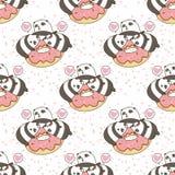 Seamless kawaii pandas character with pink doughnut pattern. In cartoon style vector illustration