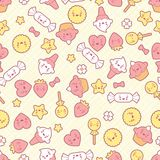 Seamless kawaii pattern with cute cakes Stock Photography