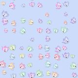 Seamless kettles pattern with drop shadow on blue Stock Photography