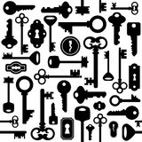Seamless key pattern. Illustration of seamless pattern with house keys and keyholes in black color Stock Photography