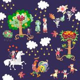 Seamless kid pattern with cute cartoon animals and plants - horse, monkey, rooster, raccoons, cats, foxes, strawberry, cucumber. Fruit trees. Vector stock illustration
