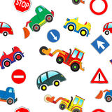 Seamless kids cars pattern stock illustration