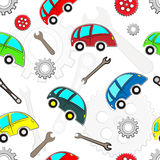 Seamless kids cars pattern with tools. Royalty Free Stock Photo