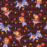 Seamless kids circus background pattern in . Stock Images