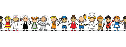 Seamless kids in costumes professions stand in a row. Seamless kids in costumes professions standing in a row on a white background Stock Photography