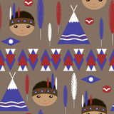 Seamless kids cute American indian native retro pattern Stock Photography