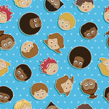 Seamless kids faces Stock Photo