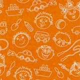 Seamless kids faces and toys pattern background Royalty Free Stock Photography