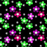 Seamless kids floral pattern on black background Royalty Free Stock Photo