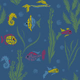Seamless kids ocean fish illustration mosaic background pattern Stock Images